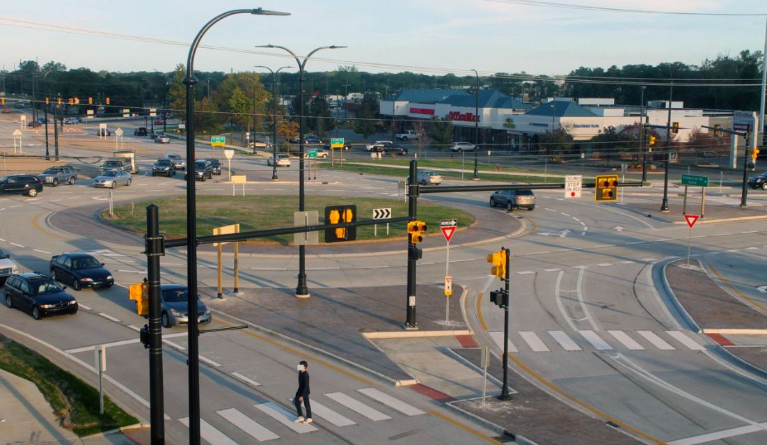 14 Mile Road and Orchard Lake Road Roundabout