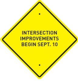 Grand River sign for intersection improvements