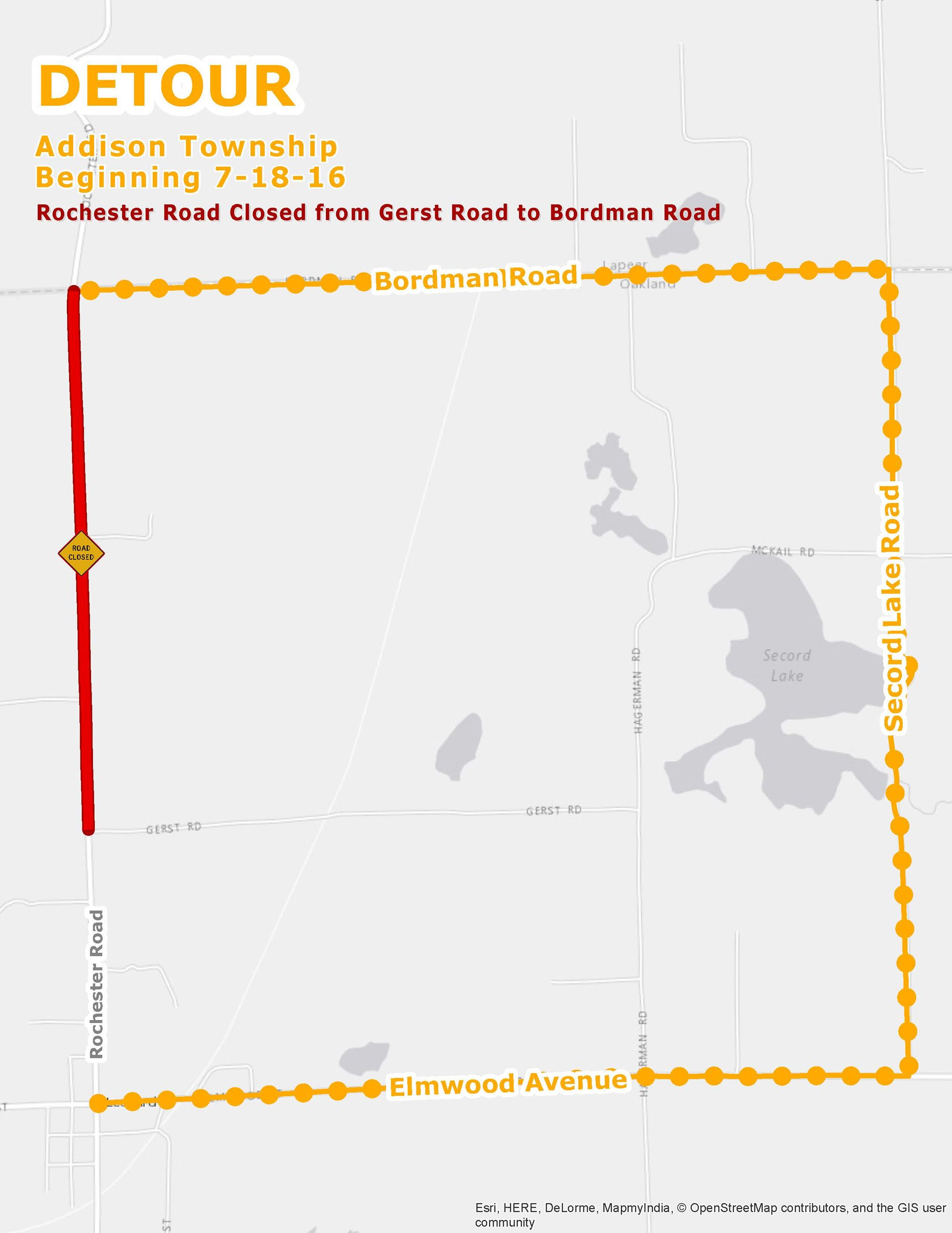 Rochester Rd from Gerst to Bordman closure detour map